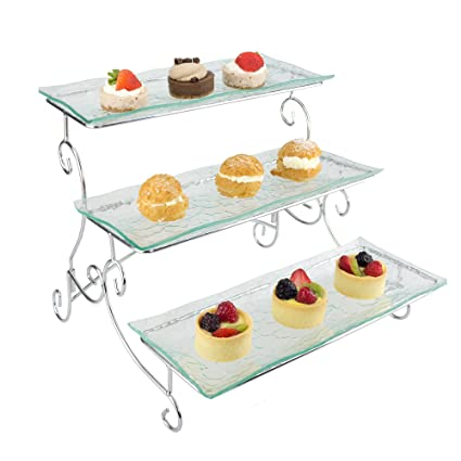 Buy Ornamental 3 Tier Server Tiered Serving Platter Stand Trays Perfect For Cake Dessert Shrimp Appetizers More Online At Low Prices In India Amazon In