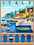 A SLICE IN TIME Amalfi Coast Italy Italia Retro Travel Home Collectible Wall Decor Advertisement Art Poster Print. 10 x 13.5 inches