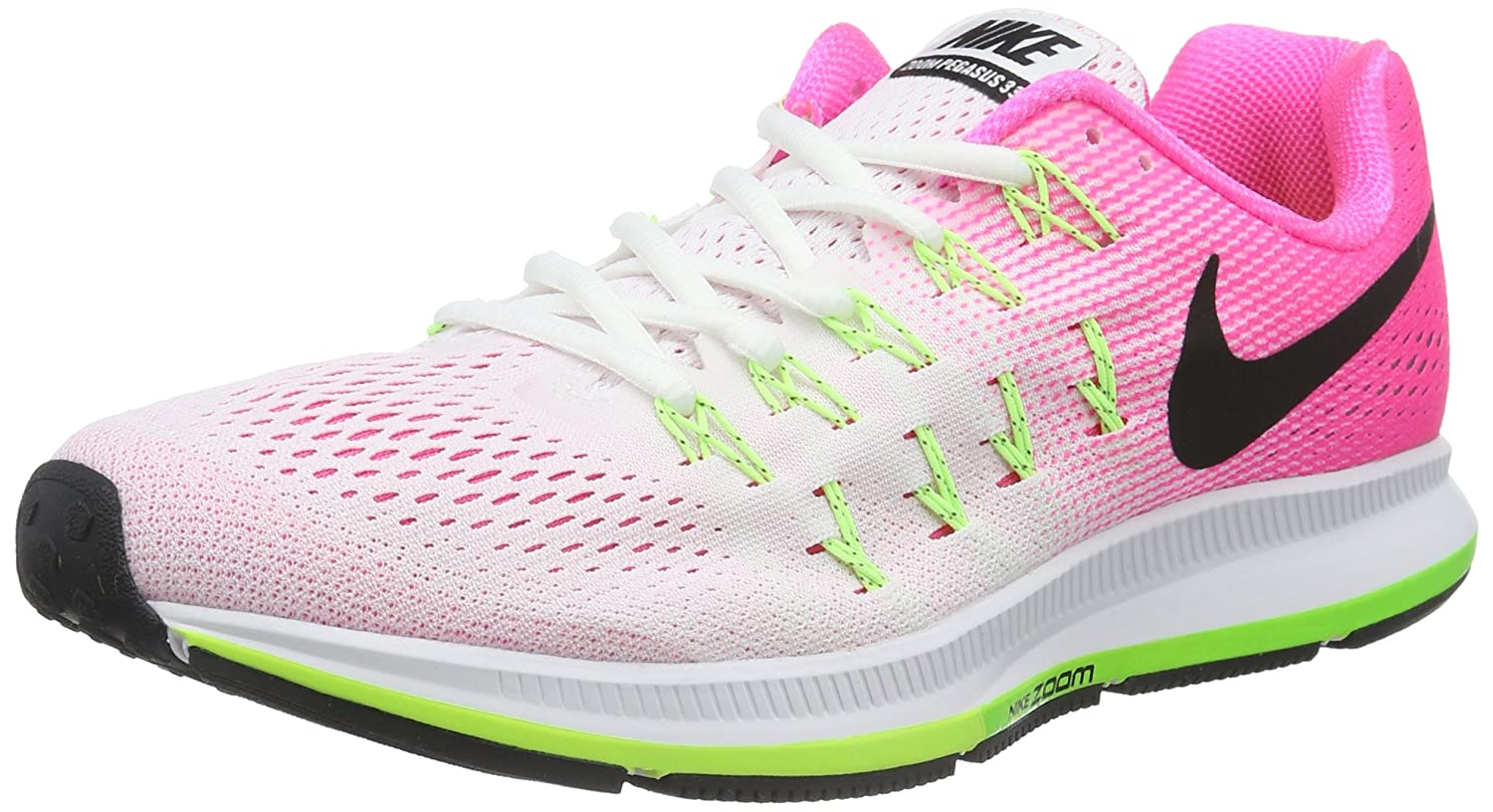 NIKE Women's Air Zoom Pegasus 33 B014EC9L9K 9.5 B(M) US|White/Pink Blast/Electric Green/Black