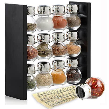 Blmwares Wood Herb and Spice Rack Stand with 12 Clear Glass Jar Bottles -  Modern &