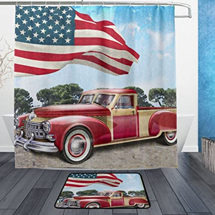 Franzibla American Flag Vintage Car Shower Curtains 72 X Inch Polyester Fabric Bathroom Curtain Set