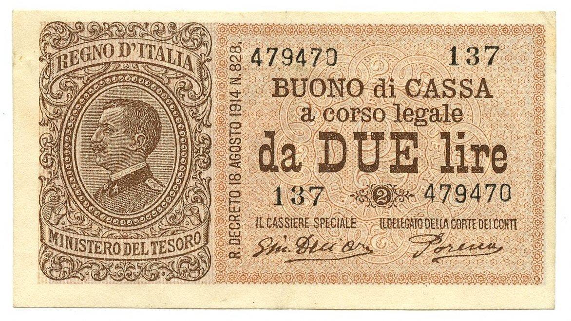 Cartamoneta  2 Lire Buono di Cassa Vittorio Emanuele III Num 137 14 03 1920 SPL+