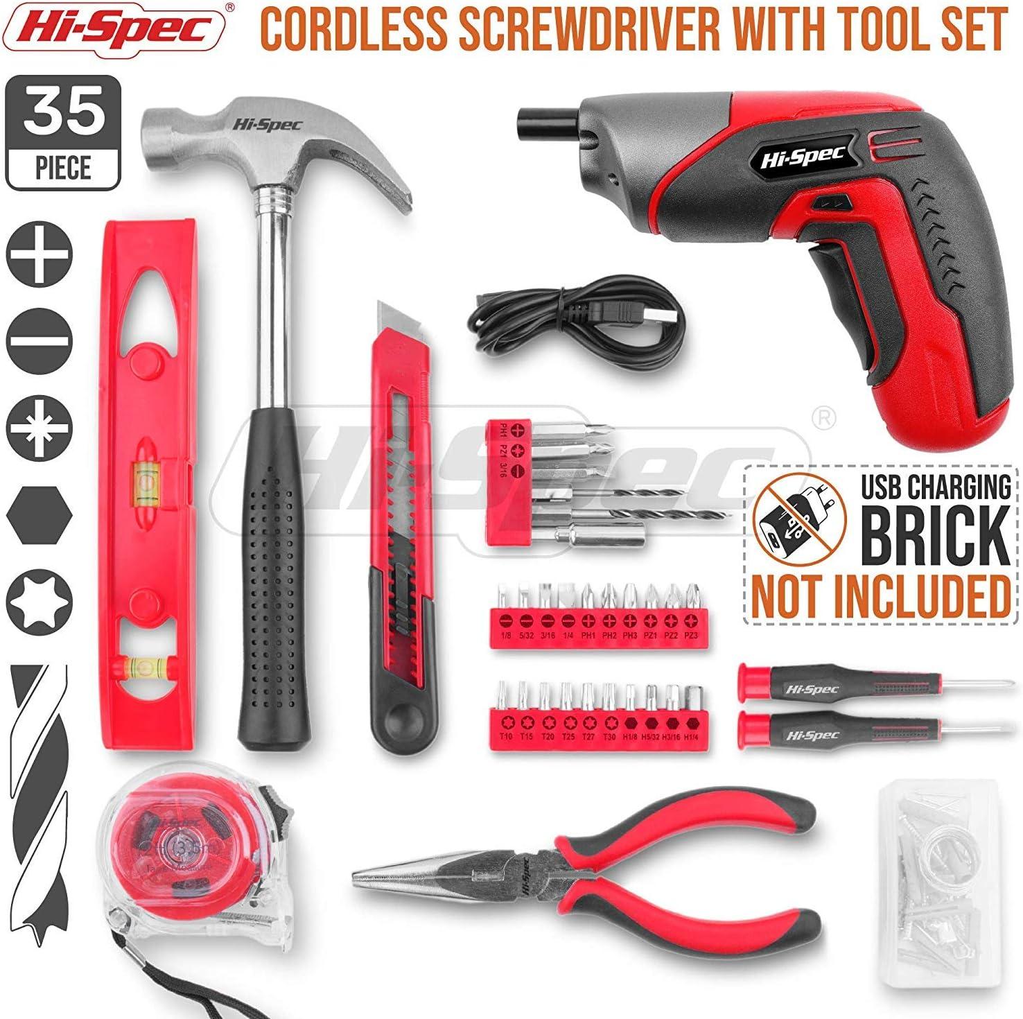 F/ür Reparaturen und Wartungen in einem praktischen Koffer Hi-Spec 35-teiliges Pink-Rosa Heimwerker-Werkzeugset mit wiederaufladbarem USB-Akkuschrauber F/ür Frauen und M/ädchen