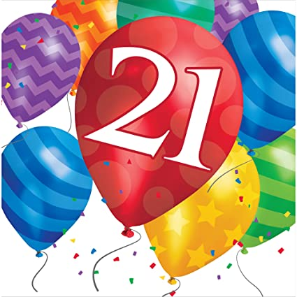 Creative Converting 16 Count 21st Birthday Balloon Blast Lunch Napkins Multicolor Amazonin Toys Games