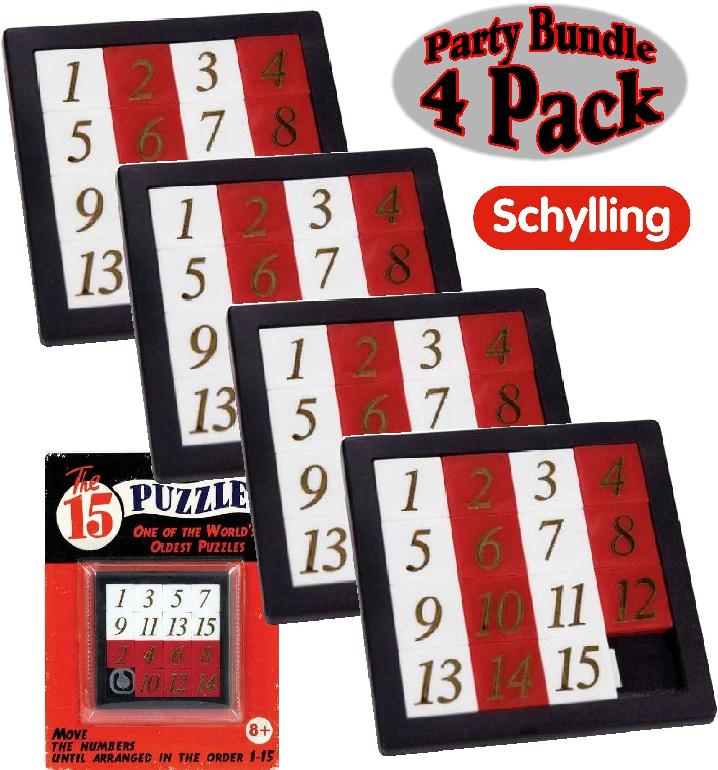 Schylling The 15 Puzzle (Number Slide Brain Teaser) with Clear Carry Case Party Bundle - 4 Pack by Schylling