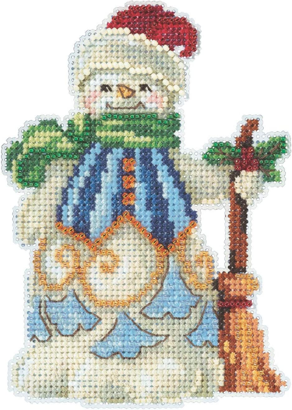 Clean Sweep Snowman Counted Cross Stitch Ornament Kit Mill Hill 2020 Jim Shore JS202013