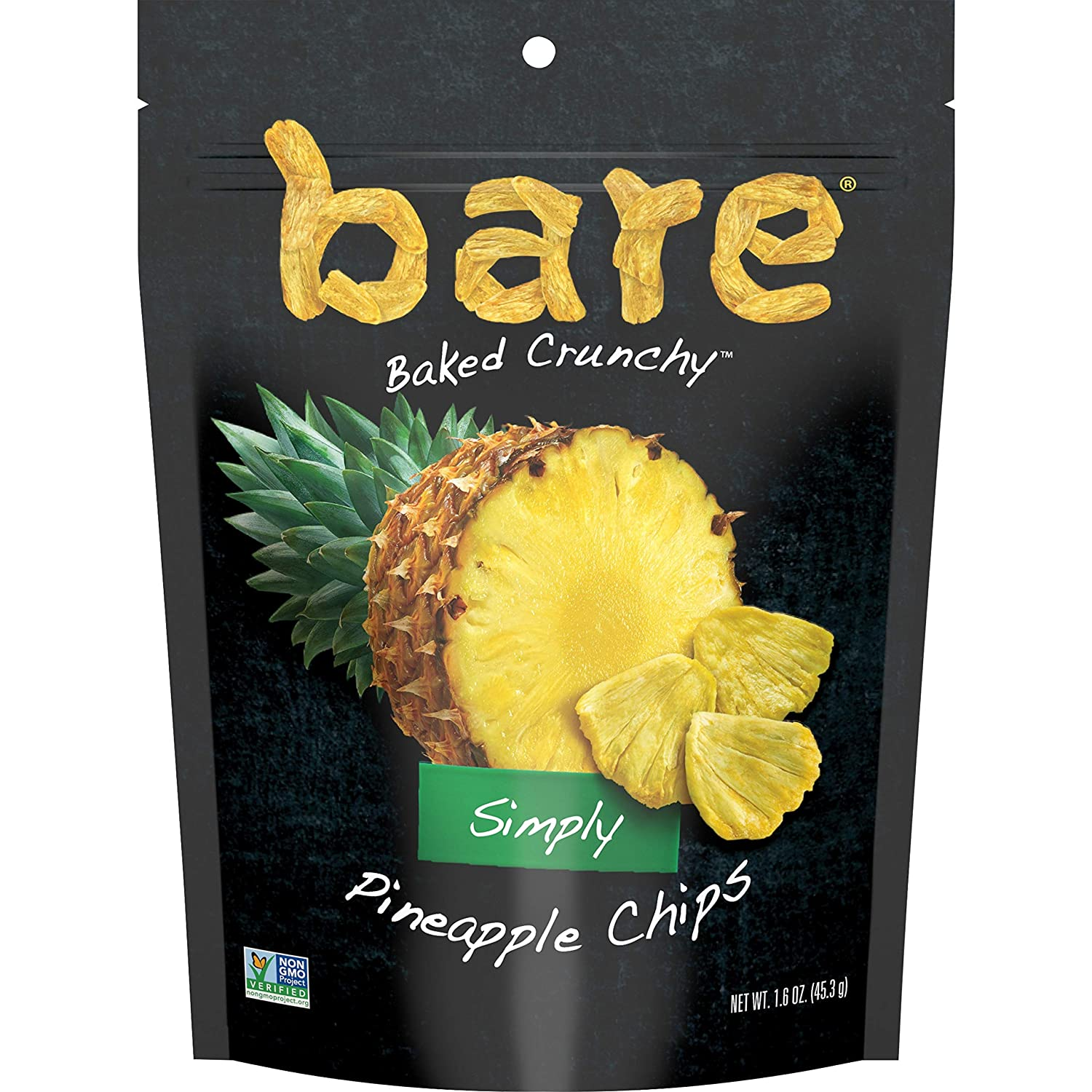 bare Baked Crunchy Simply Pineapple Chips, Fruit Snack Pack, Gluten Free, 1.6 Ounce (Pack of 6)