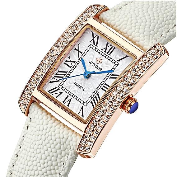 Marca mujeres relojes mujeres piel auténtica Square reloj mujer vestido de lujo reloj mujer cuarzo Rose