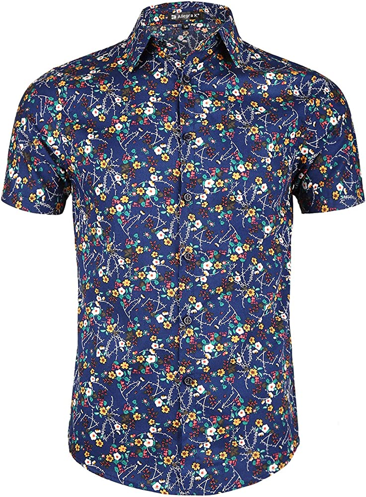 Allegra K Camisa para Hombres Mangas Cortas Botones Frontales Impresión Floral - Azul Oscuro/S (US 34), S (EU 44): Amazon.es: Ropa y accesorios