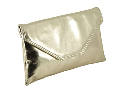 Loni Womens Stylish Large Envelope Metallic Clutch Bag Shoulder Bag Wedding  Party Prom Bag in 843f0813a5593
