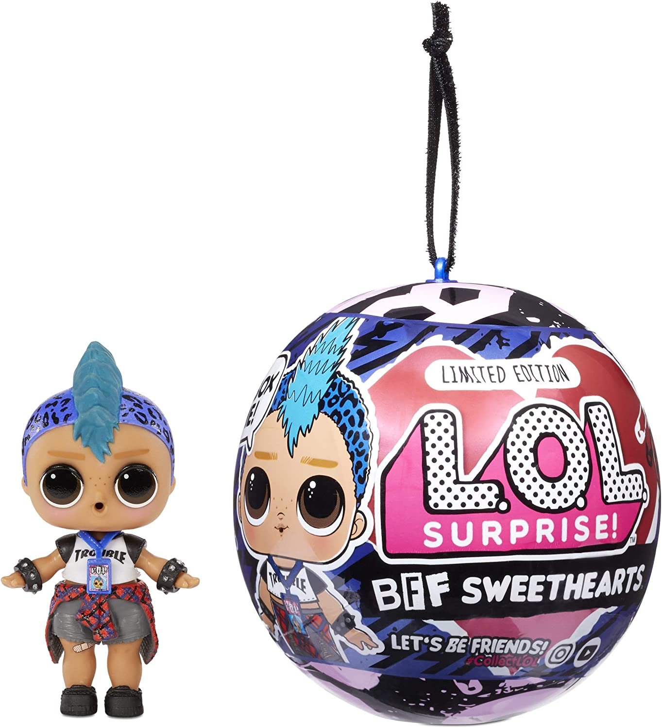 LOL Surprise BFF Sweethearts Punk Boi Doll with 7 Surprises, Surprise Doll, Boy Doll, Valentine's Doll, Accessories