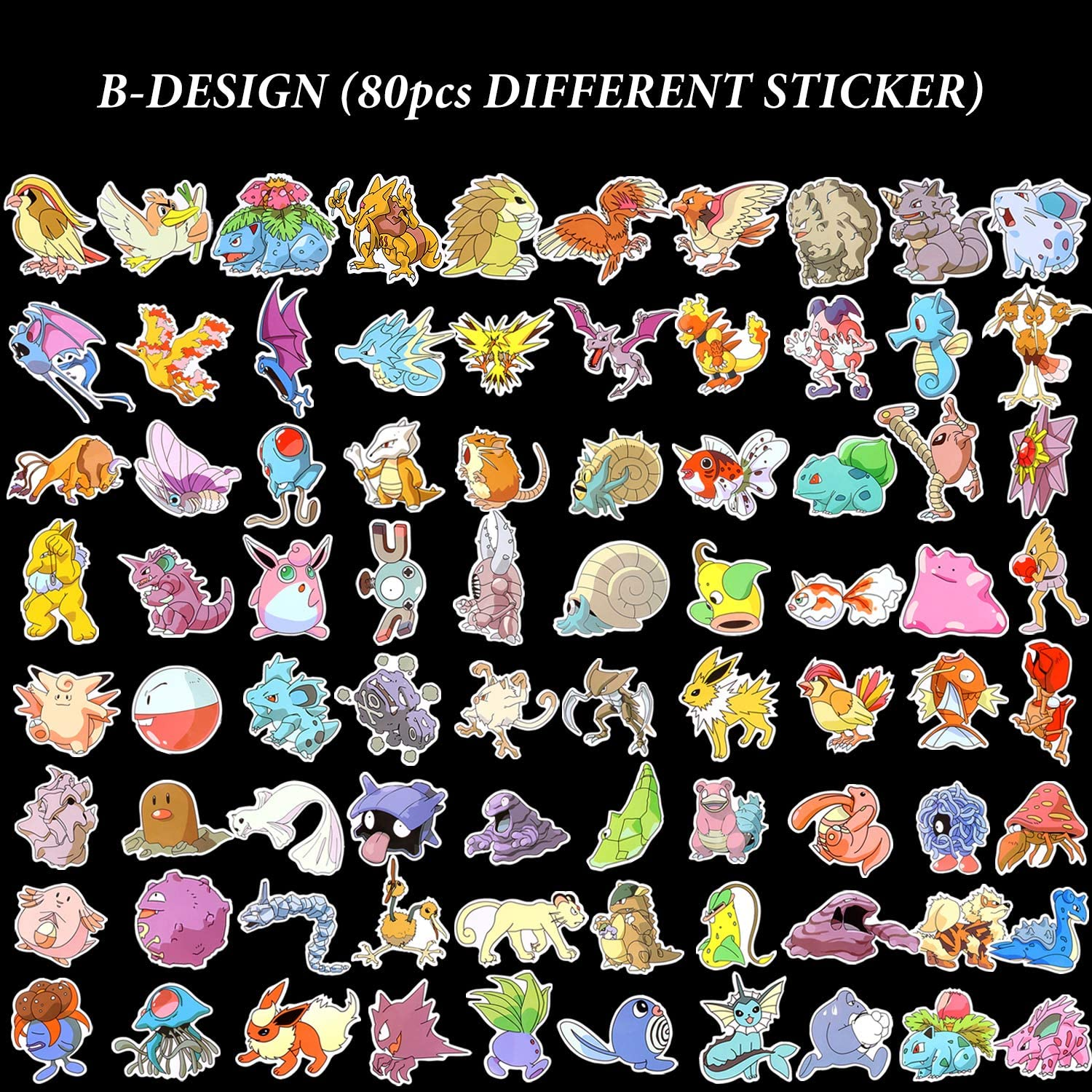 Laptop Stickers of Pokemon Bicycles Waterproof Skateboards A 80pcs Cool Stickers DIY Party Supplies Motorcycles Sticker Pack Stylish Graffiti Sticker Set for Cars Suitcases Non-Repeatable