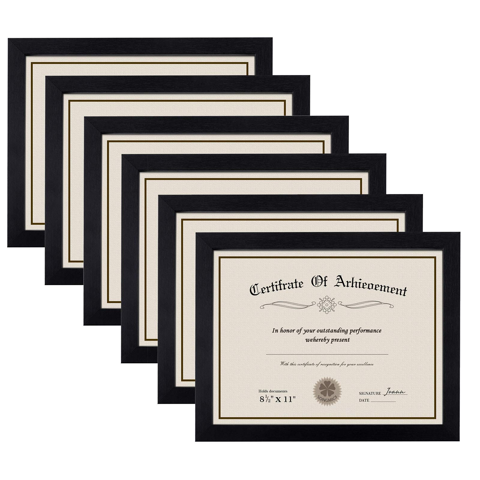 SONGMICS Document Frame for 8.5 x 11 Inches Certificate, Certificate Frame Diploma Frame, Picture Frame 8.5 x 11 Inches, Glass Protection Front Wooden Black 6 Pack URPF08BK-6