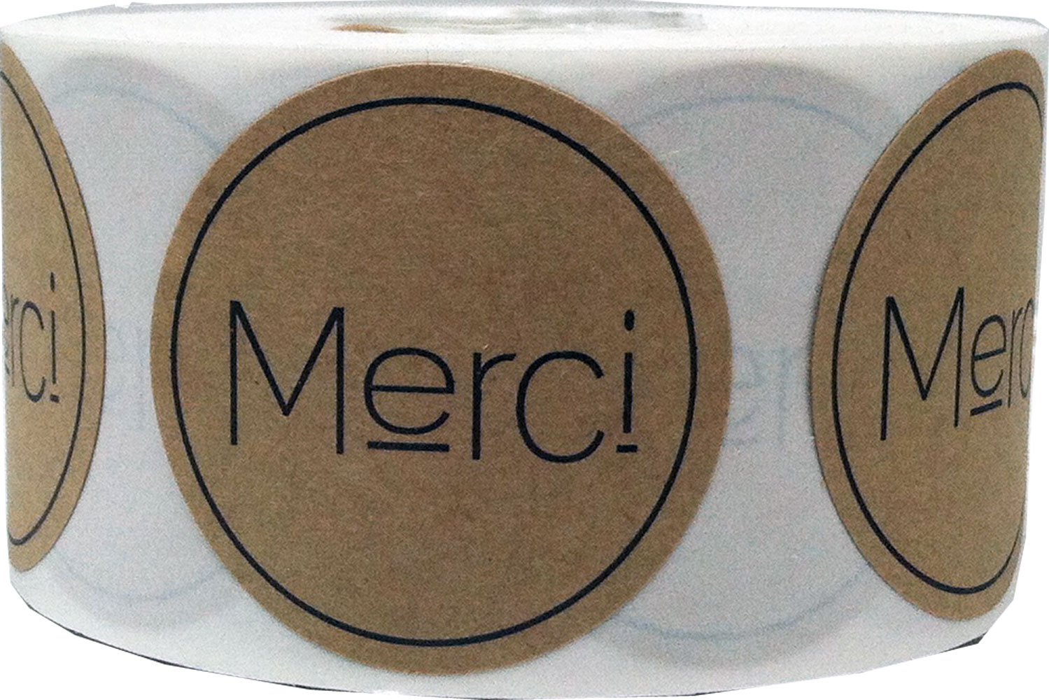 Brown Kraft Circle with Black Merci Stickers, 1.5 Inches Round, 500 Labels on a Roll