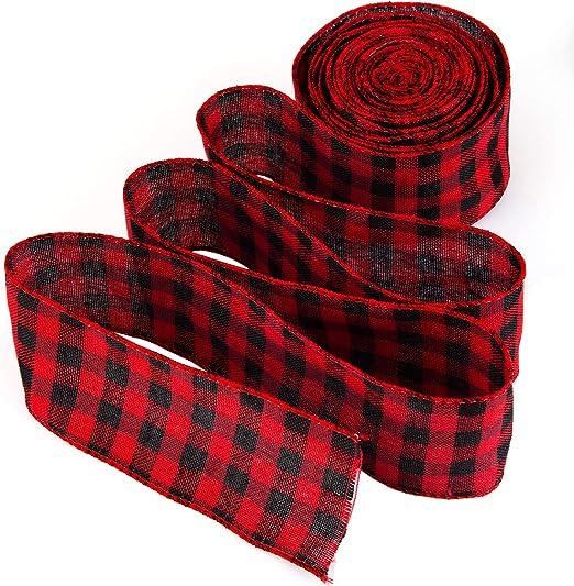 LUTER Cinta de Cuadros Escoceses Rojo y Negro Natural Burlap ...