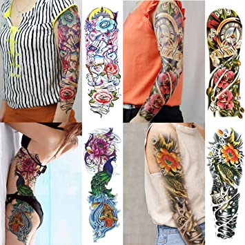 070fc 4 Sheet Large Temporary Tattoo Waterproof Full Arm Tattoo Sticker Big Peacock Lotus Rose Body Art