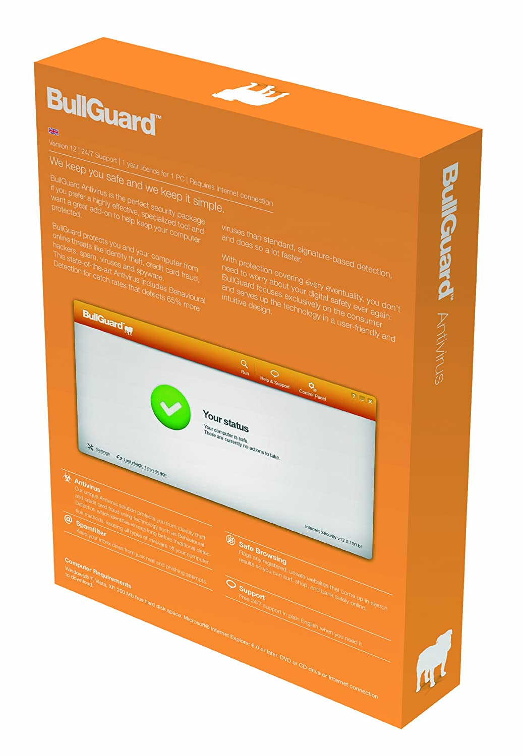 BullGuard Anti-Virus 12, 1 year Subscription, 1 User (PC