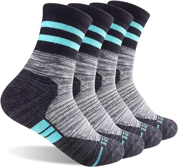 Multi-pack Wicking Cushion Crew Socks 5 Pack Womens Hiking Walking Wool Crew Socks