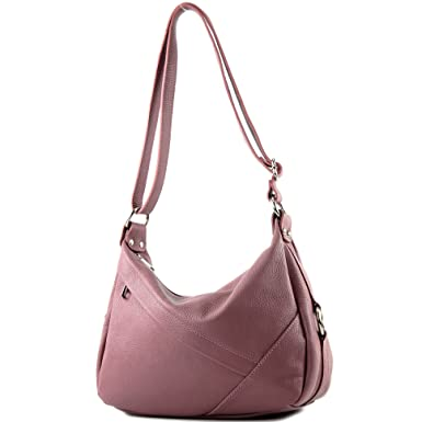 modamoda de - ital. Ledertasche Damentasche Schultertasche Umhängetasche Echtleder T164, Präzise Farbe:Schwarz modamoda de - Made in Italy