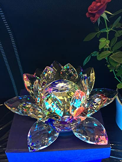 Extra Large Big Crystal Lotus Flower Ornament Crystocraft Home