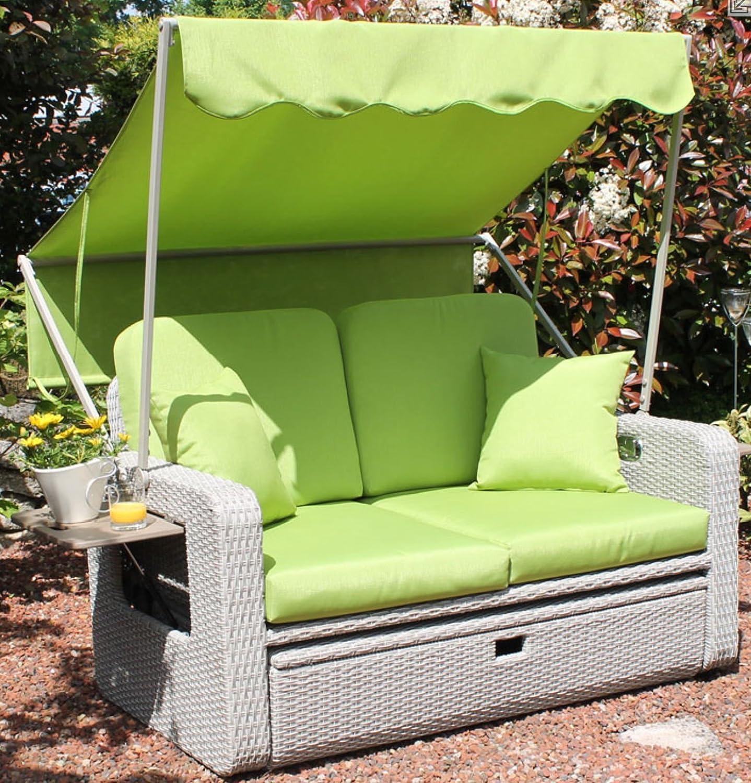 at gartenm bel 2 sitzer strandkorb mit sonnendach rattan lounge m bel grau gr n jetzt kaufen. Black Bedroom Furniture Sets. Home Design Ideas