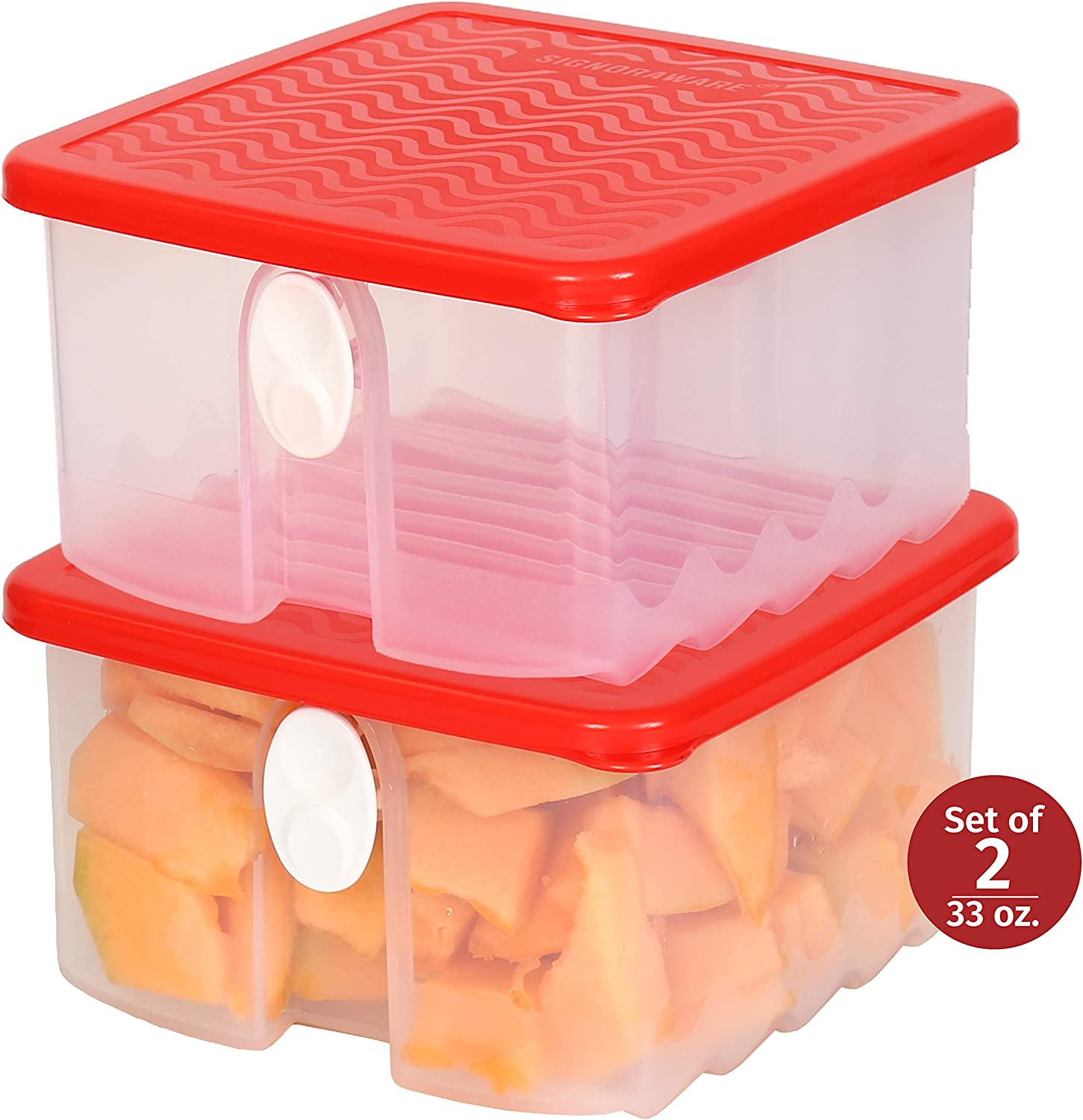 Fresh Fruit and Vegetable Food Keeper Saver Storage Container with Air Vented Lids Produce Keeper Dishwasher, Freezer, Refrigerator-Safe – 100% Food-Safe, BPA-Free Plastic Organizer - Durable Seal