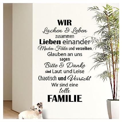 Wandaro Wandtattoo Spruch Wir sind eine tolle Familie I Schwarz 58 x 90cm I  Flur Wohnzimmer Aufkleber Selbstklebend Wandaufkleber Wandsticker ...
