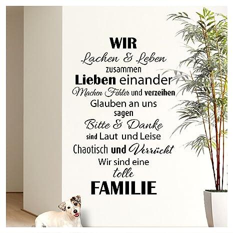 Wandaro Wandtattoo Spruch Wir sind eine tolle Familie I Schwarz 58 x 90cm I Flur Wohnzimmer Aufkleber Selbstklebend Wandaufkl
