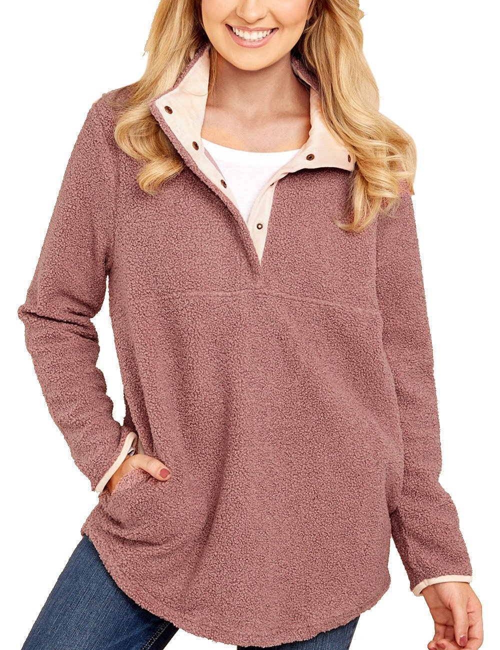 GRAPENT Women's Casual Long Sleeves Stand Collar Buttons Pockets Fleece Pullover Pink Size XL ( Fit US 16 - US 18 )