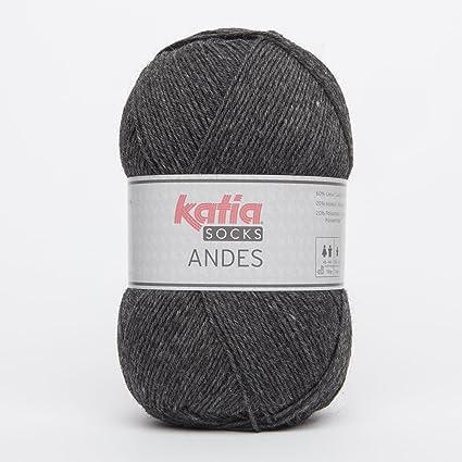 Katia Andes Socks Fb. 205 gris oscuro, calcetines lana con lana virgen y lana