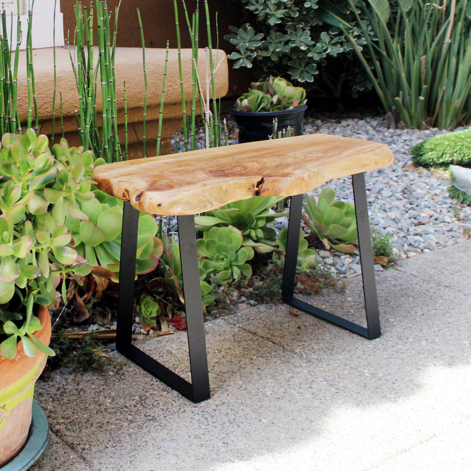 WELLAND Natural Edge Solid Wood Bench with Metal Legs, Cedar, 28'' Long by WELLAND (Image #4)