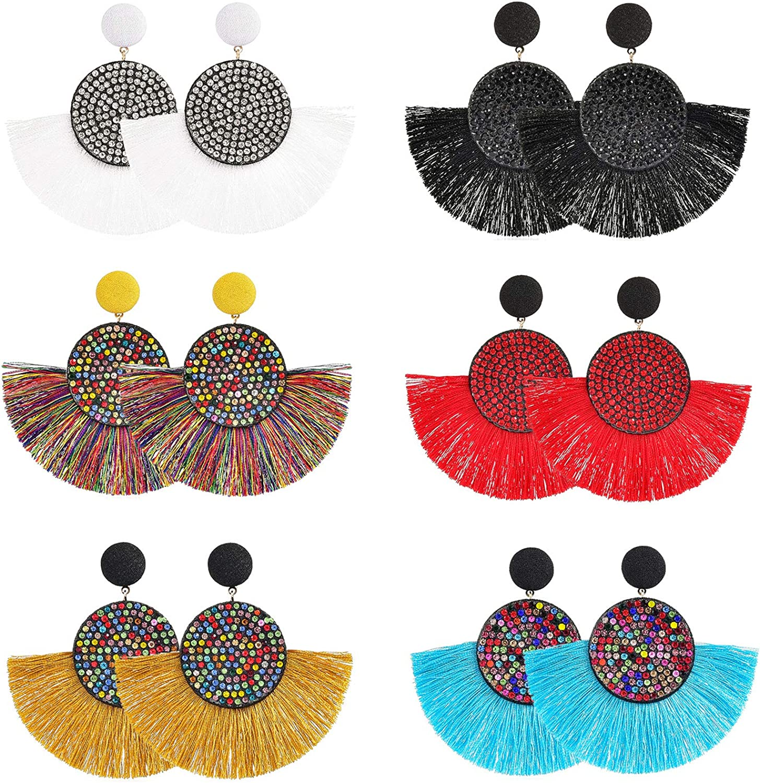 SHIWE Boho 9 Pairs Tassel Hoop Earrings Bohemian Fan Dangle Hook Drop Earrings Set for Women Girls Eardrop Gift Ear Jewelry 81CJmhueU5L
