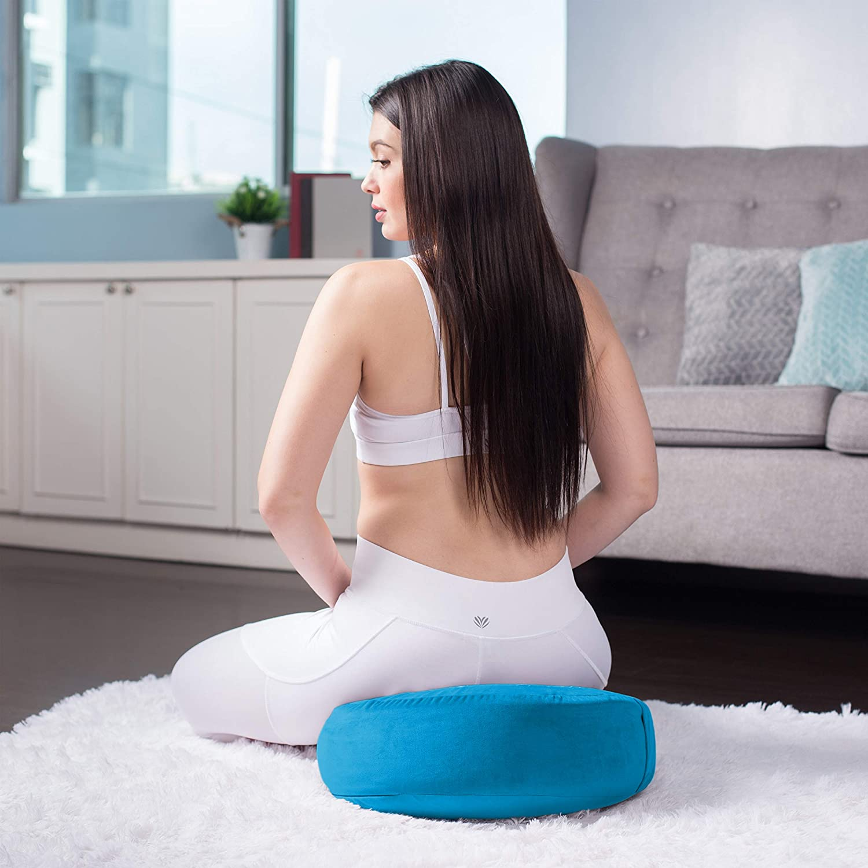 Florensi Meditation Cushion Yoga Cushion  Large Velvet Meditation Pillow 16x16x5