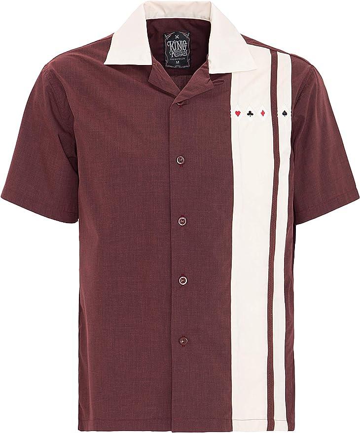 King Kerosene Men Bowling Shirt Burgundy, tamaño:S: Amazon.es: Ropa y accesorios