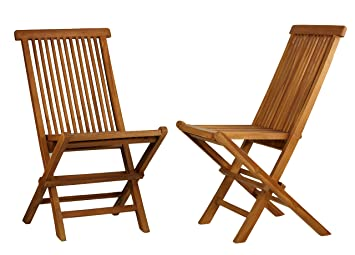 Nice Bare Decor Vega Golden Teak Wood Outdoor Folding Chair (Set Of 2) (2