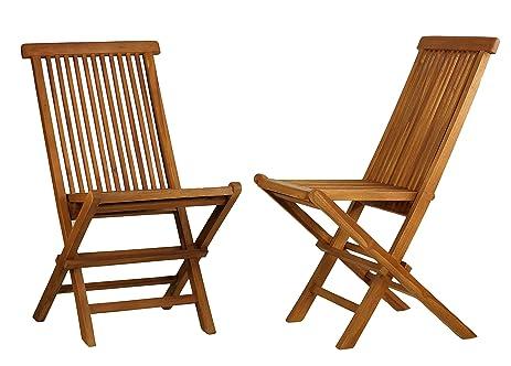 Perfect Bare Decor Vega Golden Teak Wood Outdoor Folding Chair (Set Of 2) (2