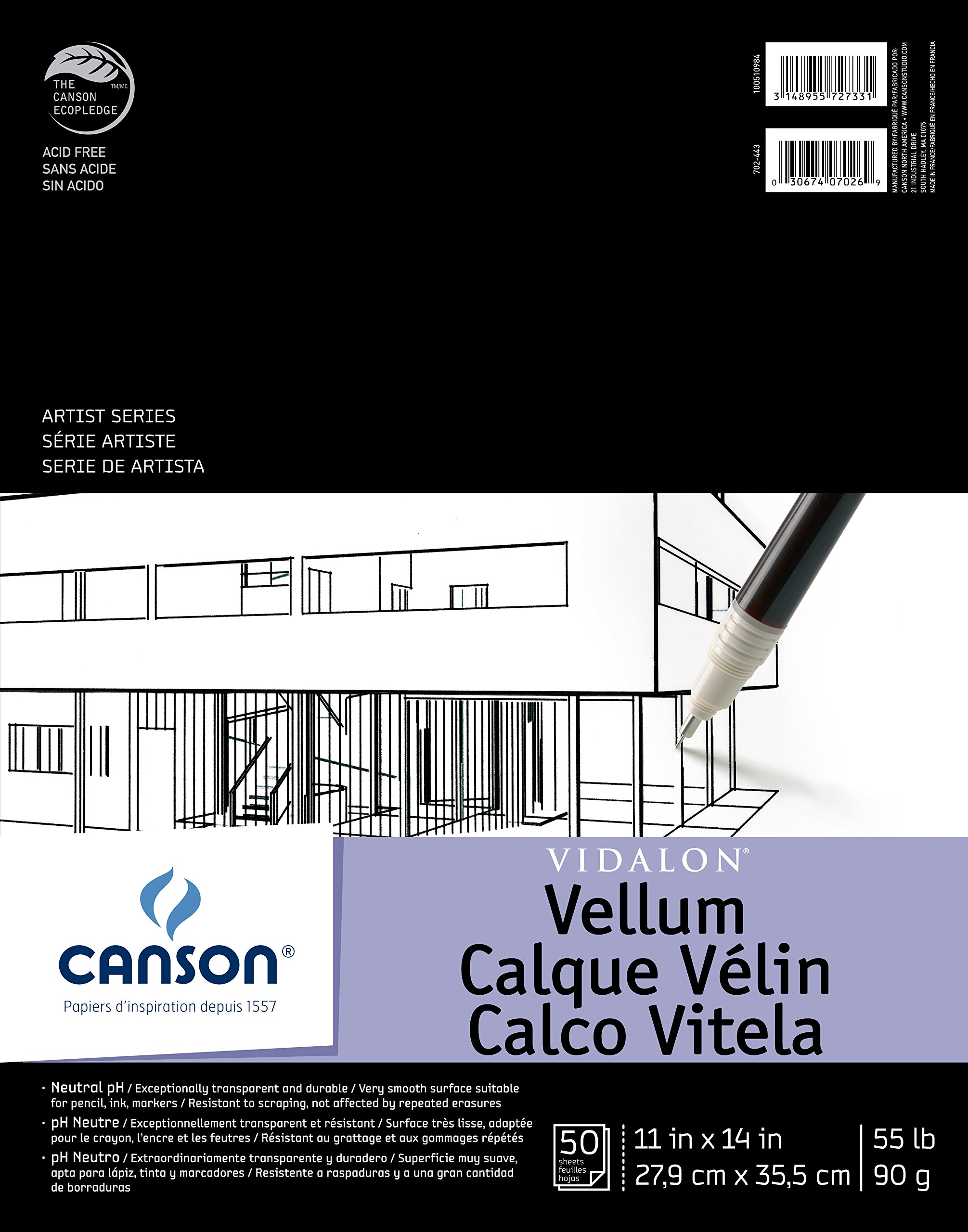 Canson Artist Series Vidalon Vellum Paper Pad, Translucent and Acid Free for Pencil, Ink and Markers, Fold Over, 55 Pound, 11 x 14 Inch, 50 Sheets by Canson