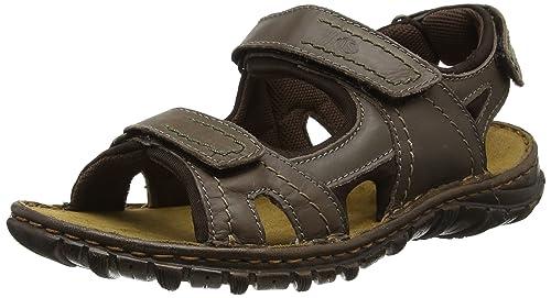21b5c27115c570 Josef Seibel Mens Open Toe Sandals Brown Size  7 UK