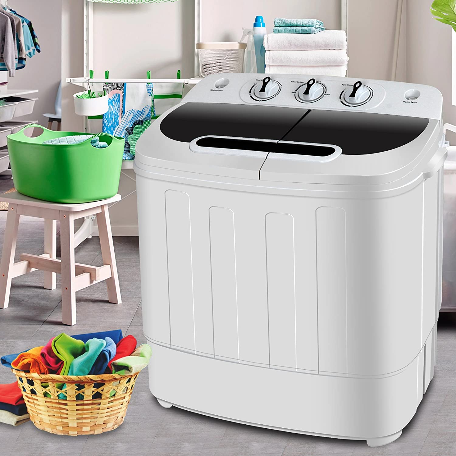 SUPER DEAL Portable Compact Mini Twin Tub Washing Machine w/Wash and Spin Cycle, Built-in Gravity Drain, 13lbs Capacity For Camping, Apartments, Dorms, College Rooms, RV