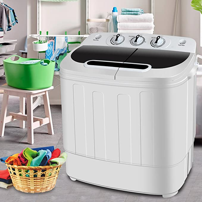 SUPER DEAL Portable Compact Mini Twin Tub Washing Machine w/Wash and Spin Cycle, Built-in Gravity Drain, 13lbs Capacity For Camping, Apartments, Dorms, College Rooms, RV's, Delicates and more best portable washer