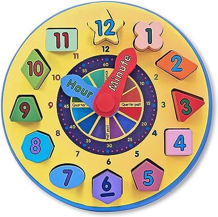 Shape Sorting Clock 12 Pc Sturdy Wooden Construction Preschool Developmental Toy