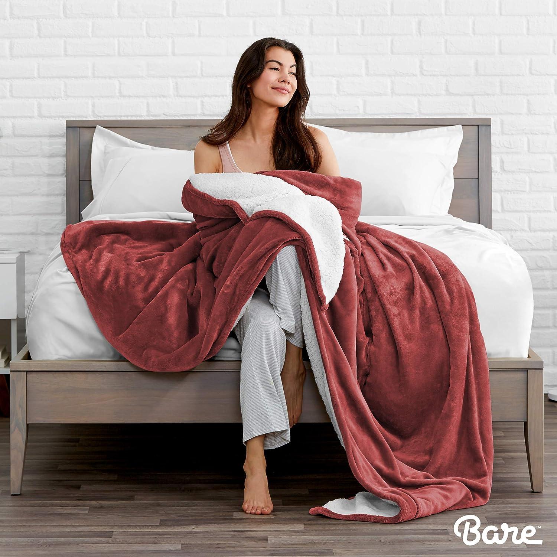 Hypoallergenic Twin//Twin Extra Long Fluffy /& Soft Plush Bed Blanket Lightweight Bare Home Sherpa Fleece Blanket Reversible Twin//Twin XL, Caribbean Sea