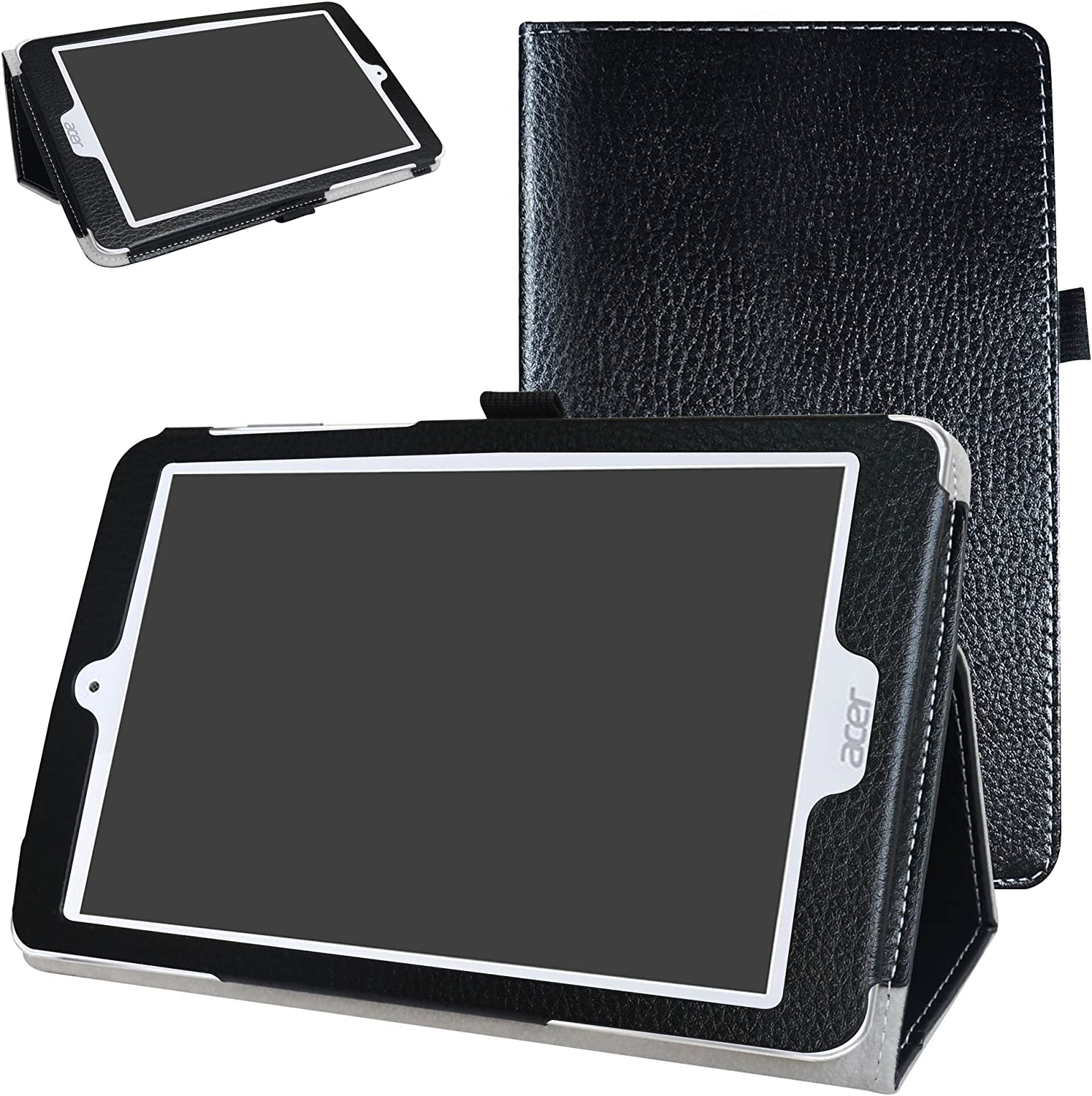 "Acer Iconia One 8 B1-860 Case,Mama Mouth PU Leather Folio 2-Folding Stand Cover with Stylus Holder for 8.0"" Acer Iconia One 8 B1-860 Android Tablet,Black"