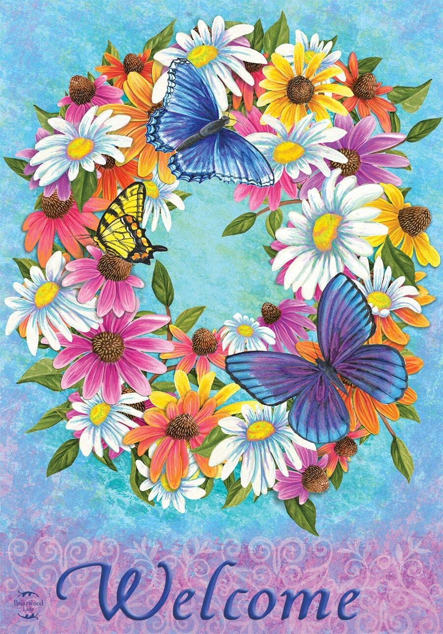 Briarwood Lane Butterfly Wreath Spring Garden Flag Welcome Floral 12.5