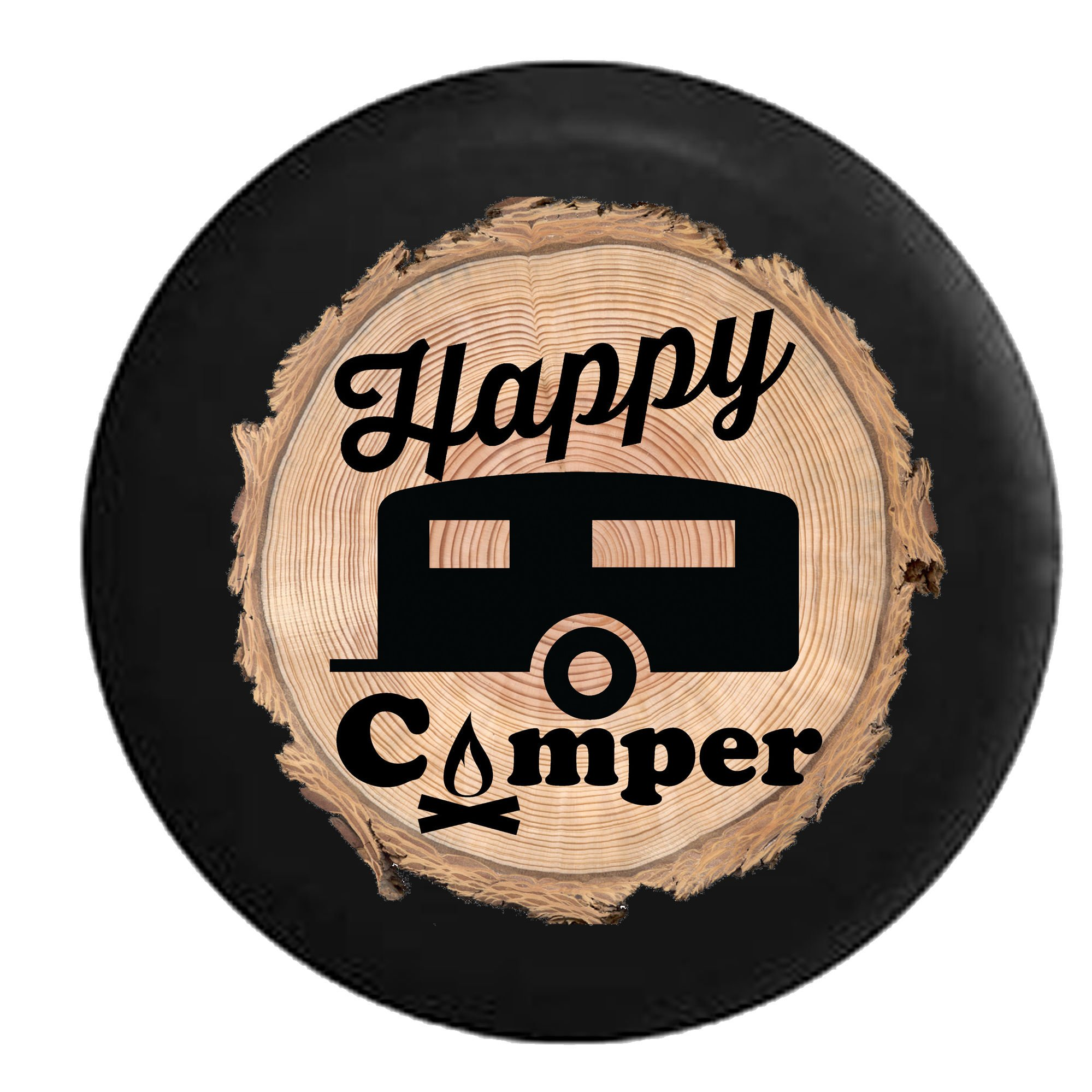 Firewood Series - Happy Camper Camp Fire Trailer RV Spare Tire Cover Black 32 in