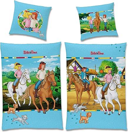 Bettwäsche glatt Bibi und Tina Blocksberg 135 x 200 Reißverschluss Geschenk NEU