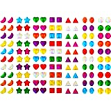 Shappy 630 Pairs Earring Sticks 3D Sticker Gems Girls Sticker Earrings Self-adhesive Stickers