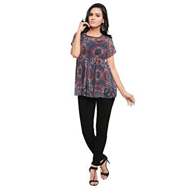 51e1aebb87064 Serein Women s Crepe Printed Floral Chiffon with Short Sleeves Top (Blue
