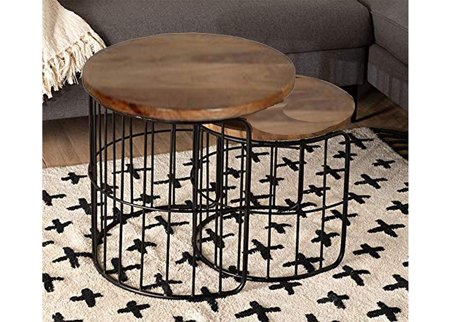 D Obair Vintage Wooden Round Coffee Table 21 21 21 Inches L W H Mango Wood Semi Gloss Brown Black Amazon In Home Kitchen