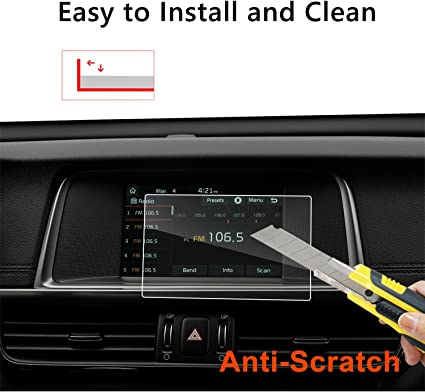 LFOTPP Car Navigation Screen Protector Compatible for 2017-2018 Sportage UVO 8 Inch, Tempered Glass Infotainment Center Touch Screen Protector Anti Scratch High Clarity LiFan US01CMKSP08 9H